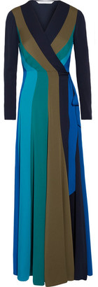 Diane von Furstenberg - Penelope Paneled Stretch-silk Wrap Maxi Dress - Blue $570 thestylecure.com
