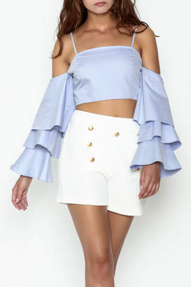 Endless Rose Tiered Ruffle Sleeve Crop