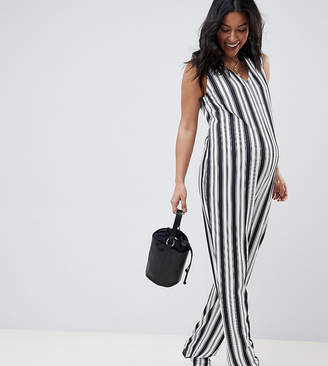 Bluebelle Maternity striped jumpsuit