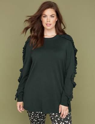 Ruffle-Sleeve Tunic Sweater
