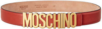 Moschino Logo Plaque Leather Belt