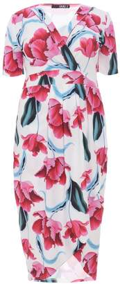 Quiz Curve Cream And Pink Floral Wrap Dress