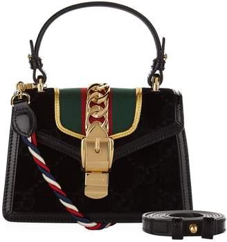 Gucci Mini Velvet Sylvie GG Top Handle Bag