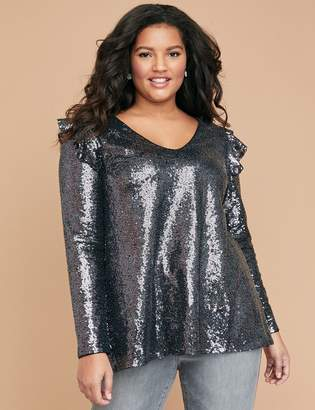 Lane Bryant Cold-Shoulder Sequin Swing Top