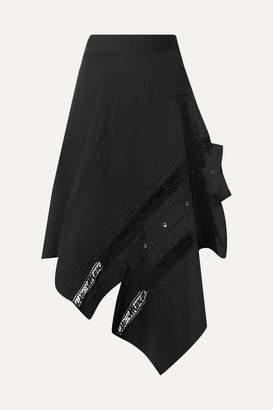 Monse Asymmetric Lace-trimmed Cotton-blend Poplin Skirt - Black