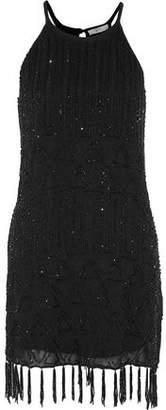 Joie Sanibel Fringed Beaded Gauze Mini Dress