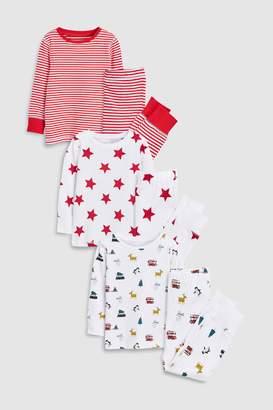 Next Boys Red Star/Stripe Snuggle Fit Pyjamas Three Pack (9mths-8yrs)
