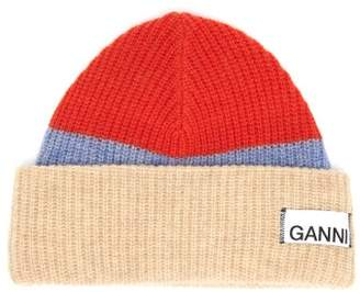Ganni Logo Patch Colour Block Wool Blend Beanie Hat - Womens - Red Multi