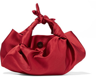 The Row - Ascot Knotted Satin Tote - Red $990 thestylecure.com