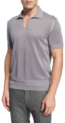 TOM FORD Textured Johnny-Collar Short-Sleeve Shirt, Gray $960 thestylecure.com
