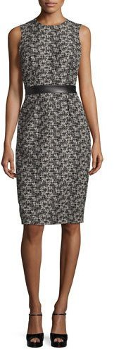 MICHAEL Michael Kors Michael Kors Sleeveless Banded-Waist Sheath Dress, Black/Muslin