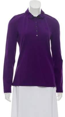 Burberry Nova-Trimmed Polo Top w/ Tags Purple Nova-Trimmed Polo Top w/ Tags