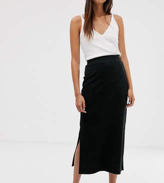 Monki jersey midi tube skirt in black