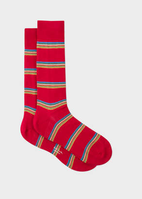 Paul Smith Men's Red Multi-Coloured Block Stripe Socks