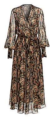 Oscar de la Renta Women's Floral Silk Long-Sleeve Wrap Dress
