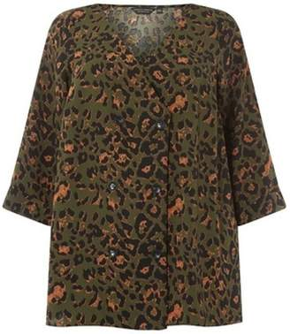 Dorothy Perkins Womens **DP Curve Khaki Leopard Print Double Breasted Top