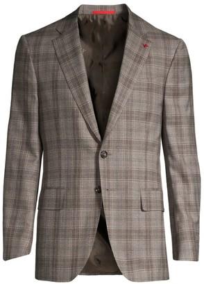 Isaia Delain Plaid Wool Single-Breasted Jacket