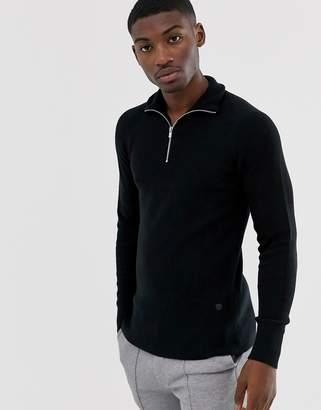 Jack and Jones half zip knitted jumper in black