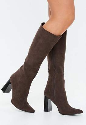 Missguided Brown Calf Tubular Faux Suede Boots