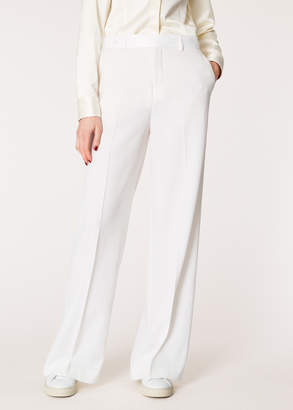 Paul Smith Women's Ivory Wide Leg Tuxedo Wool Trousers With Satin Details