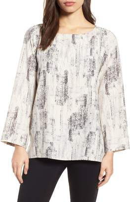 Eileen Fisher Print Tencel(R) Lyocell Blend Top