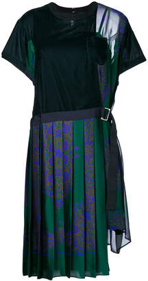 Sacai T-shirt dress with pleated skirt