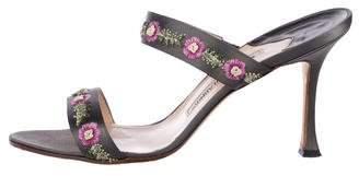 Manolo Blahnik Floral Embroidered Slide Sandals
