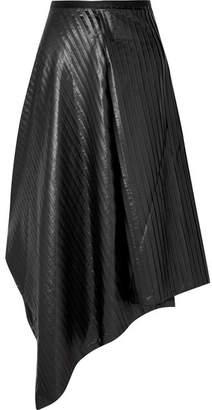 Sid Neigum - Asymmetric Pleated Satin Midi Skirt - Black