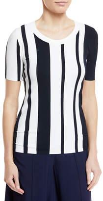Diane von Furstenberg Striped Scoop-Neck Pullover Top