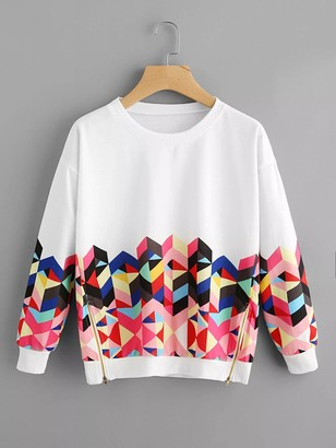 Shein Geo Print Zipper Side Drop Shoulder Sweatshirt