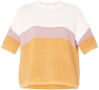 Paisie Three-Tone Short Sleeve Ribbed Jumper In White, Lilac & Tan