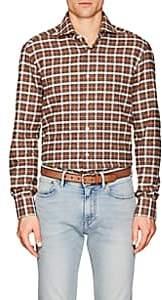 Kiton Men's Plaid Cotton Flannel Shirt - Dark Orange