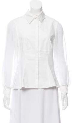 Anne Fontaine Sheer Long Sleeve Blouse