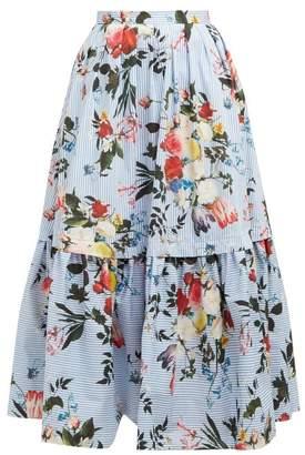 Erdem Leigh Isabelle Print Tiered Cotton Poplin Skirt - Womens - Blue Print