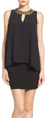 Laundry by Shelli Segal Embellished Chiffon & Jersey Popover Dress $245 thestylecure.com