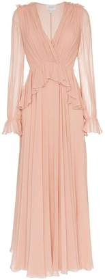 Giambattista Valli v-neck long sleeve silk maxi dress