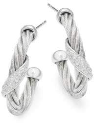 Alor 18K White Gold & Stainless Steel Diamond Hoop Earrings
