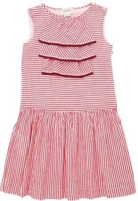 Gucci Striped Cotton Canvas Dress W/ Ruffles
