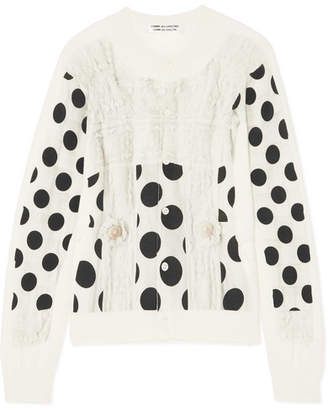 Comme des Garcons Polka-dot Cotton Cardigan - Off-white