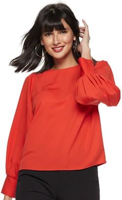 Nine West Women's Pleated Blouson Sleeve-Detail Blouse