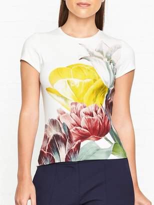 Ted Baker Pippie Tranquility Print Fitted T-shirt - White