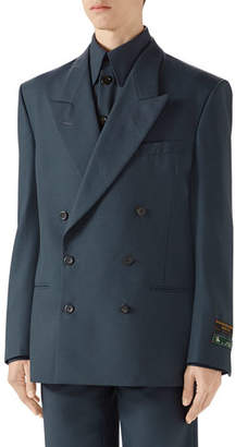 Gucci Men's Military Drill Double-Breasted Jacket