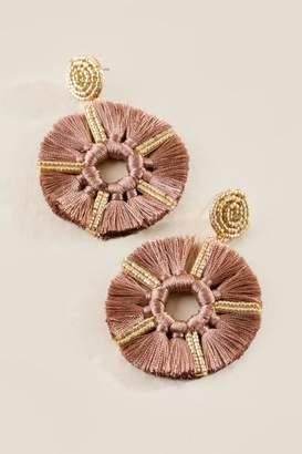francesca's Ana Beaded Post Tassel Earrings - Purple
