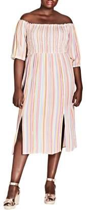 City Chic Island Stripe Midi Dress