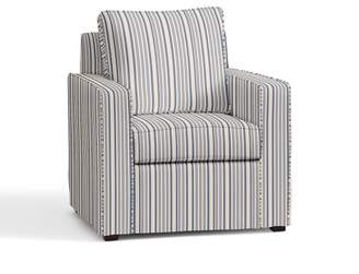 Pottery Barn Cameron Square Arm Slipcovered Armchair - Print and Pattern