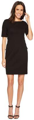 Adrianna Papell Micro Ottoman Sheath Dress with Lace-Up Detail and Elbow Sleeve Women's Dress