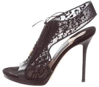 Salvatore Ferragamo Mesh Lace-Up Sandals