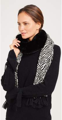 J.Mclaughlin Ren Scarf with Faux Fur in Zebra