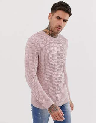 Asos Design DESIGN lightweight muscle fit cable jumper in pink