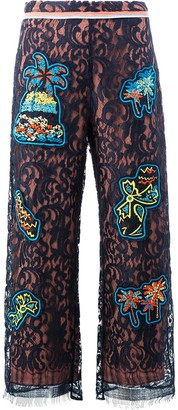 Peter Pilotto lace patch overlay trousers